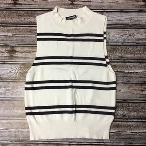 Express Black & White Striped Sleeveless Knit SM